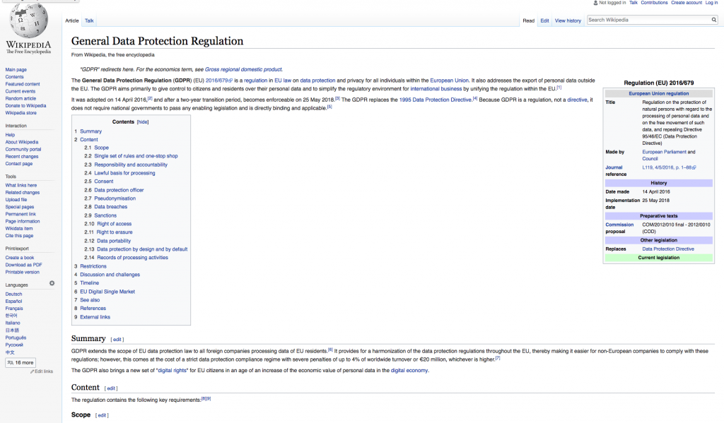 GDPR rules and regs from wikipidea