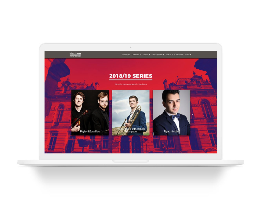 Hexha Music Society Website design by Credere Media