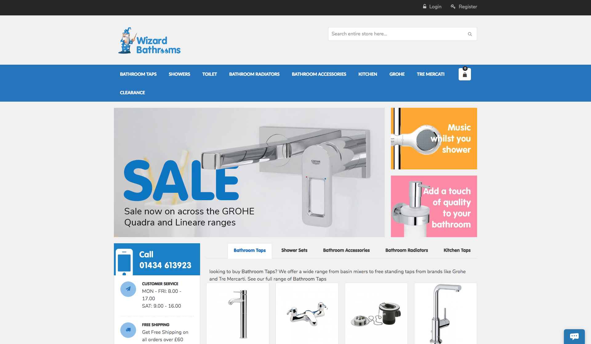 Wizard Bathrooms web design