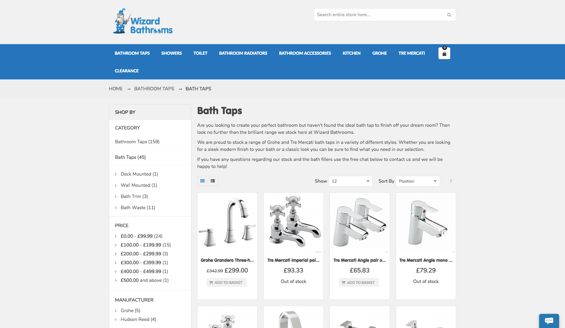 Wizard Bathrooms website Development